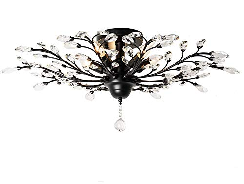 Branch Wrought Iron (Injuicy Lighting Vintage K9 Crystal Metal Edison Branches Led Ceiling Lights Fixtures Retro Wrought Iron French Villa Ceiling Lamp Shade for Living Room Bedroom Porch Chandelier (Black Dia.30.7 Inch))