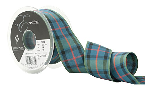 Scotland Tartan Ribbon - Berisfords R762240/16 | Flower of Scotland Woven Tartan Ribbon | 25m x 40mm