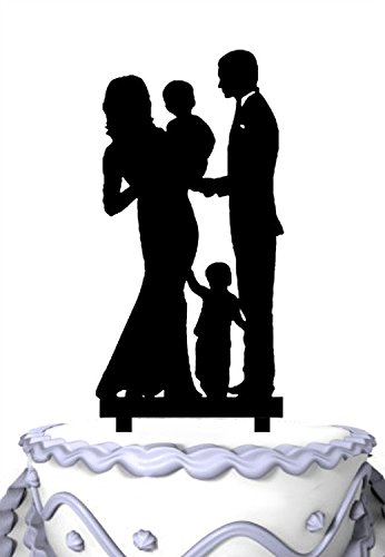 Meijiafei Bride & Groom Holding Baby with A Little Boy Family Cake Topper by Meijiafei