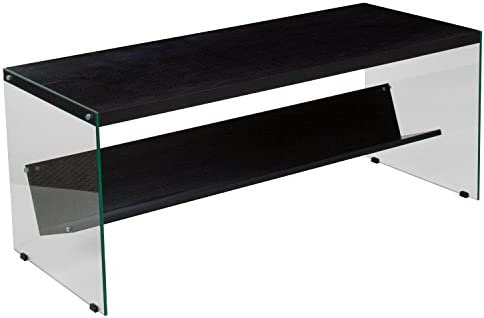 Flash Furniture Highwood Collection Dark Ash Finish Coffee Table with Shelves and Glass Frame
