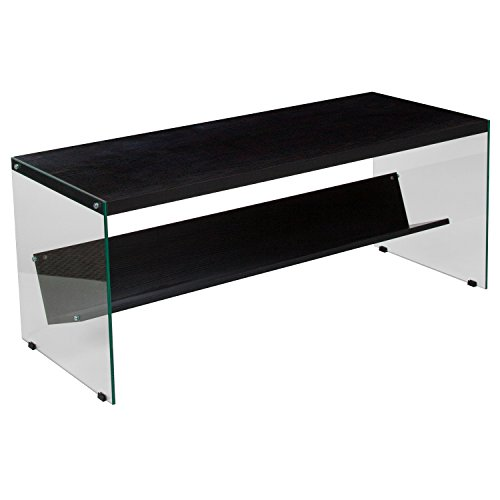 Flash Furniture Highwood Collection Dark Ash Wood Grain Finish Coffee Table with Shelves and Glass Frame