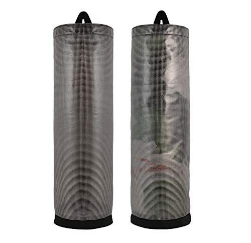 Plastic bag holder 2 pcs for garbage, grocery bags storage, dispenser, Kitchen organizer, hanging folding space saver, large capacity mesh trash bag carrier. (Grey)