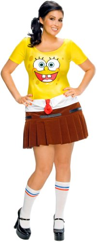 Halloween Cartoon Characters (Secret Wishes Women's Plus Size SpongeBabe Costume,)