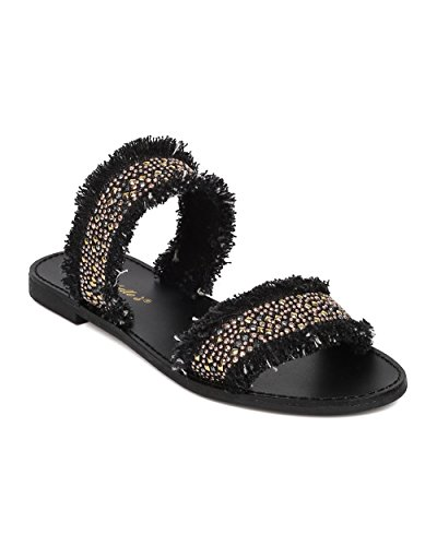 Alrisco Women Beaded Flat Sandal - Double Band Sandal - Frayed Denim Slide - HA92 by Breckelles Collection Black Denim
