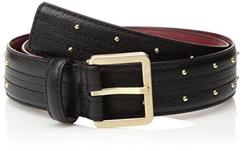 Calvin Klein Cinturón de piel para mujer con detalles de puntadas y tachuelas, Negro, M