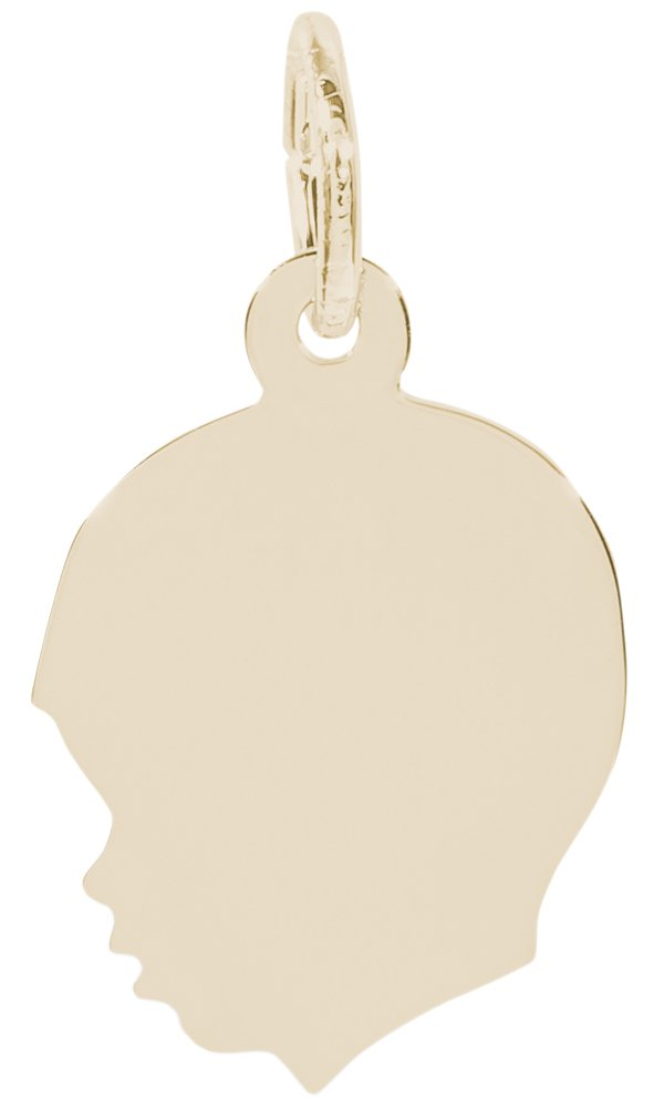 Rembrandt Charms, Small Boy Silhouette, 10K Yellow Gold, Engravable