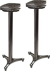 Ultimate Support MS-100B MS Series Professional Column Studio Monitor Stand with Adjustable Angle and Axis - Black