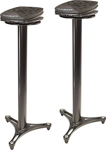 Ultimate Support MS-100B MS Series Professional Column Studio Monitor Stand with Adjustable Angle and Axis - Black by Ultimate Support
