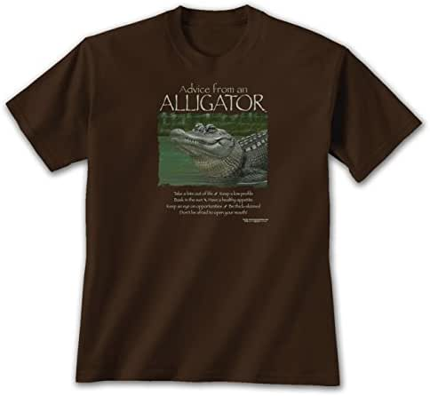 Advice From An Alligator - Lg T-shirt Dark Chocolate, Novelty Gift Apparel