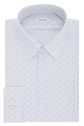 Calvin Klein Men's Dress Shirts Non Iron Slim Fit Stretch Dot Stripe, Purple/Multi, 17.5