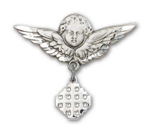 Icecarats Créatrice De Bijoux En Argent Sterling Jerusalem Charme Croix Ange Broche De Badge 1 X 1 1/8