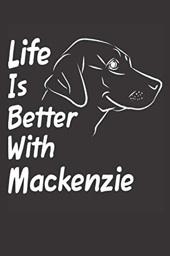 Life Is Better With Mackenzie: Blank Dotted Female Dog Name Personalized & Customized Labrador Notebook Journal for Women, Men & Kids. Chocolate, ... & Christmas Gift for Dog Lover & Owner.