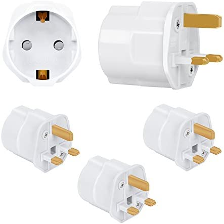 Incutex 3X adaptadores de Viaje UK, GB, Inglaterra Schuko, 2 Patas ...