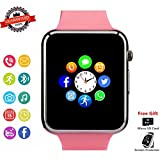 Smartwatch, Bluetooth Smart Watch Phone Wristwatch with Pedometer Camera SMS SNS Sync Music Player SIM Card Slot Compatible for Android iPhone (Partial Functions) Women Girls (Pink)
