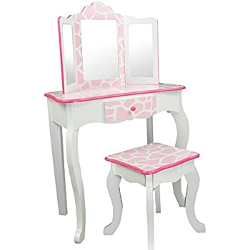 Teamson Kids   Fashion Prints Girls Vanity Table And Stool Set With Mirror    Giraffe (