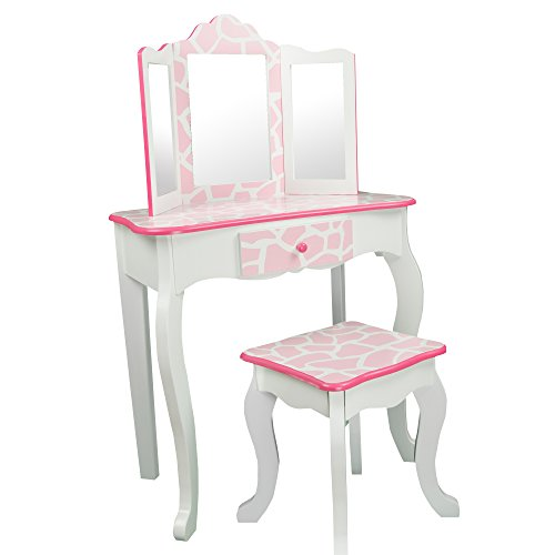 Teamson Kids - Fashion Prints Girls Vanity Table and Stool Set with Mirror - Giraffe (Baby Pink / White) -