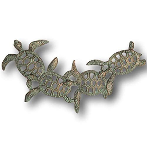 """Mission Gallery Heavy 17"""" Bronze Wrought Iron Metal Sea Turtles Home Wall Decor Nautical Displays"""