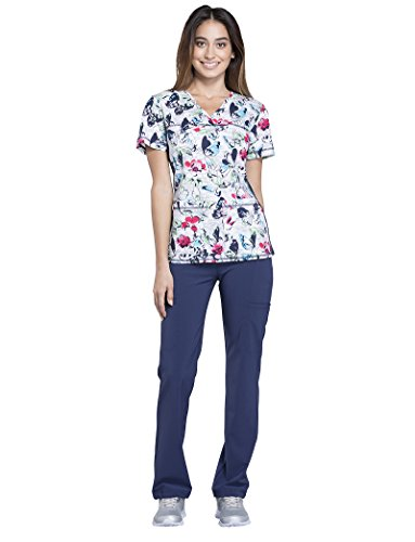 Cherokee Women's V-Neck Side Panel Butterfly Print Scrub Top Medium Print (Cotton Print Scrub)