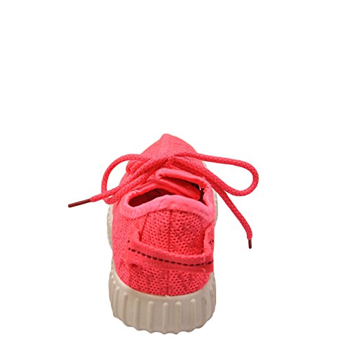Qupid Vitesse 01 Femmes Tricot Tissu Lacets Sneakers Néon Rose