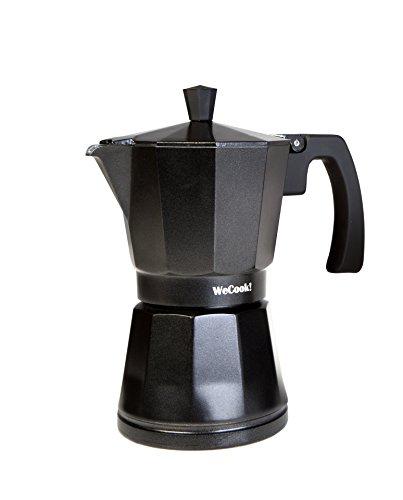 WECOOK! Luccia Cafetera Italiana inducción de aluminio express, 3 tazas café, apta para todas las cocinas, color negro…