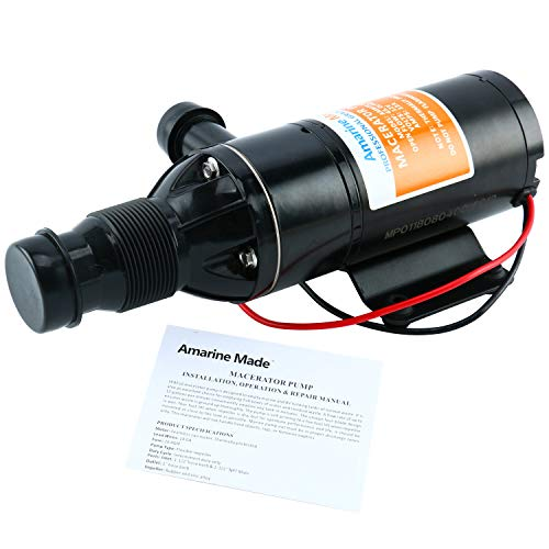 Amarine-made Macerator Waste Water Pump 12V 12 GPM New Anti-Clog Feature for RV Marine Trailer Toilet Sewer Self Priming