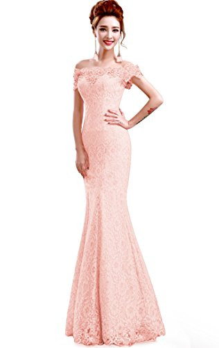 Babyonline Saclloped Fishtail Evening Gown Off Shoulder Formal Dress,Pink,12