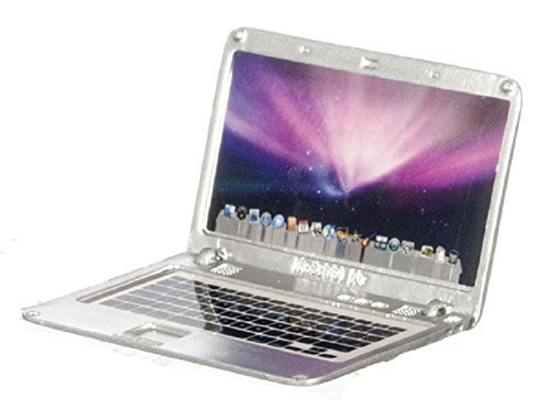 Dollhouse Miniature Laptop, Silver, Apple Logo and Screen (Barbie Computer)