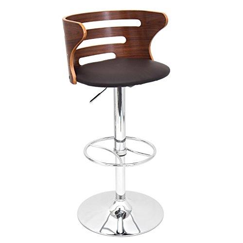 Lumisource Brown Bar Stools - LumiSource Cosi Height Adjustable Mid-century with Swivel Modern Barstool, Walnut/Brown