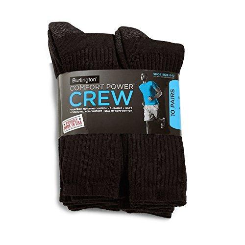 Burlington Comfort Power Mens 10 Pair Black Crew Socks (Size 6-12) - Made in - Men Burlington