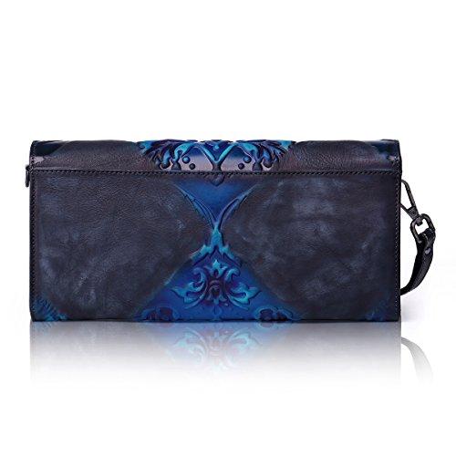 Aphison - Bolso de asas de Piel para mujer azul