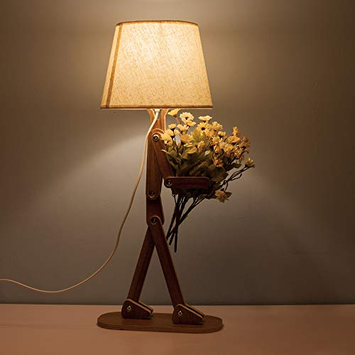 Voglee Novelty Cool DIY Desk Reading Lamp with Shade for Kids Bedroom Adjustable Beside Table Lamp Swing Arm Wood Nightstand Light Living Room Dorm by Voglee