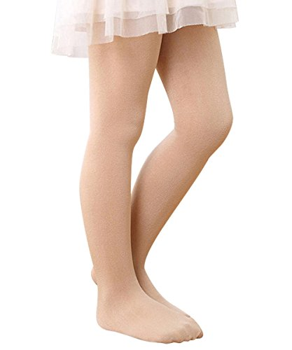 [Zando Girls Full Length Solid Color Stretchy Popular Cotton Warm Pants Leggings Tights Nude Medium] (Toddler Natural Leopard Costumes)