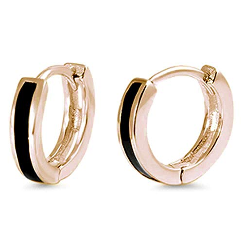 Gold Tone Onyx Earrings - Synthetic Onyx Half Circle Huggie Hoop Earrings Yellow Gold-Tone Plated Sterling Silver