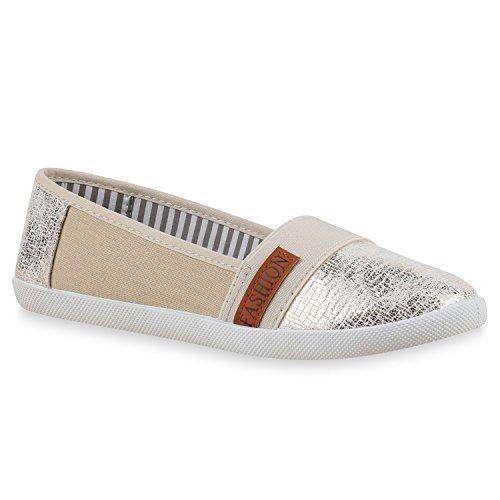 Stiefelparadies Bequeme Damen Slipper Slip-Ons Sportliche Schuhe Flats Stoffschuhe Prints Glitzer Freizeitschuhe Flandell Gold Hellbraun