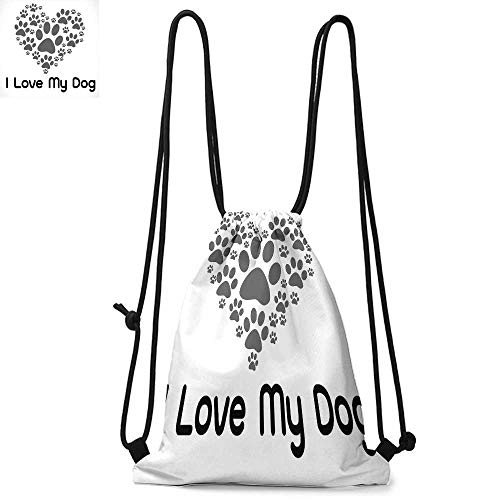 - Dog Lover Decor Made of polyester fabric I Love Dog Typography Typescript Text Heart Shaped Monochromic Artwork Veterinary Waterproof drawstring backpack W13.8 x L17.7 Inch