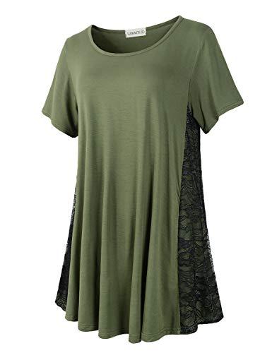 609212a2f5c LARACE Women Lace Tunic Top Short Sleeve Flare T Shirt for Leggings ...