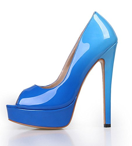 Amy Heel For Blue PU Big Pumps Dress High Slip Shoes On Peep Toe Size Platform Q Women Party Handmade SqxSAHwr