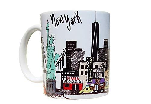 NEW YORK CITY Landmark Skyline Coffee Mug - Yankee Stadium - One World Trade Center - Statue of Liberty