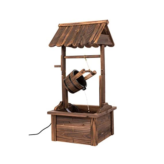 Worldrich 44-Inch Outdoor Garden Rustic Wood Wishing Well Water Fountain with Pump - UL Certified 120V Electric Pump- UL certified 120V electric pump serves as a powerful engine to keep the fountain flowing. High performance pump with 60Hz 3600r/min. Outdoor Deraction- This wishing well water fountain perfectly serves as a outdoor decoration for your backyard, patio, or garden. - patio, outdoor-decor, fountains - 41C57bvmysL. SS570  -
