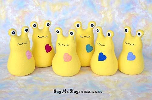 Product ID HMS-9-GY-PB Periwinkle Blue Heart Banana Slug Plush 9 inch Stuffed Animal Hug Me Slug Kids Baby Toy Yellow Fleece