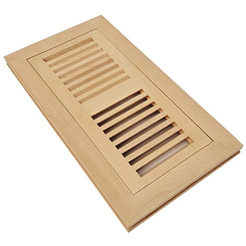 Maple Unfinished Wood - Homewell Maple Wood Floor Register Vent, Flush Mount with Frame, 4x10 inch, Unfinished