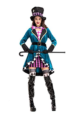 Women's Mad Hatter Cosplay Costume Halloween Mad Magician Stage Performance Role Play Suit, Olive-L -
