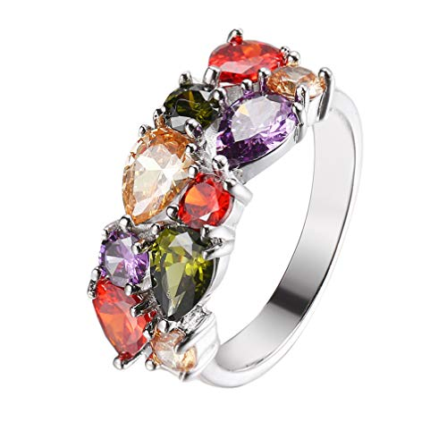 Gemstones Sets 925 Sterling Silver Peridot Amethyst Garnet Morganite (Ring Size 10#)