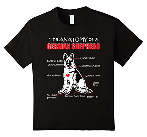 unisex-child The Anatomy Of A German Shepherd Shirt 10 Black