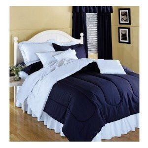 Reversible Solid Color Comforter, Navy Blue Reversing To Light Blue, Twin  Size