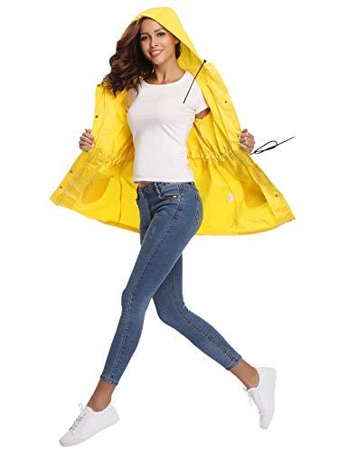 Mujer Con De Aibrou Chaqueta Abrigo Ligero Impermeable 2 Capucha Para Amarillo nOP0kwX8N