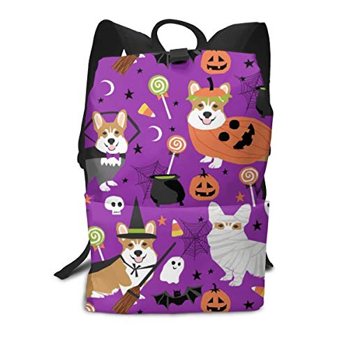 Corgi Halloween Costumes Mummy Vampire Ghost Just Dog Purple Middle School Backpack For Teen Large Casual Durable Daypack Travel Rucksack]()