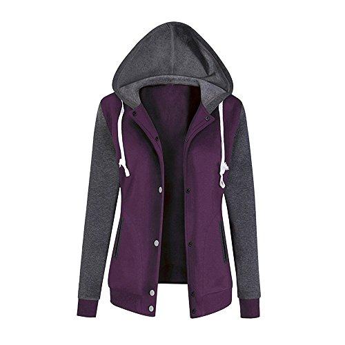 Causal Sweatshirt Sale Coat Ladies Outwear Print Winter DEELIN Tops Autumn Clearance Jackets Hoodie Long Patchwork Solid Womens Purple Sleeve Blouse 4U58xqUvw