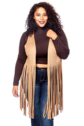 Womens Ladies Plus Sizes Curvy Stylish Suede Fringe Vests C1107X (2XL, (Ladies Fringe)