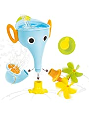 Yookidoo FunEleFun Fill 'N' Sprinkle Bath Toy. an Elephant Trunk Funnel Toddlers Play with 3 Interchangeable Trunk Accessories That Spins, Twist and Sprinkle, Promotes Kids STEM-Based Learning (Blue)